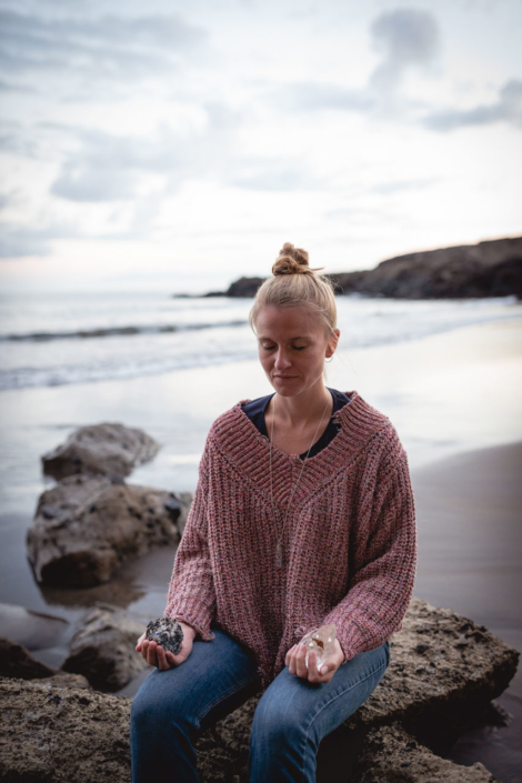 Carla Sophie retracted meditating at el Medano by Lucilla Bellini Photographer in Canary Islands